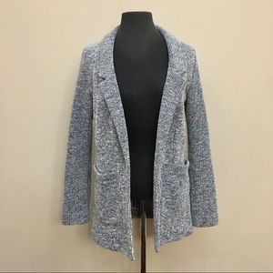 TOPSHOP Marled Knit Open Front Long Sweater Blazer